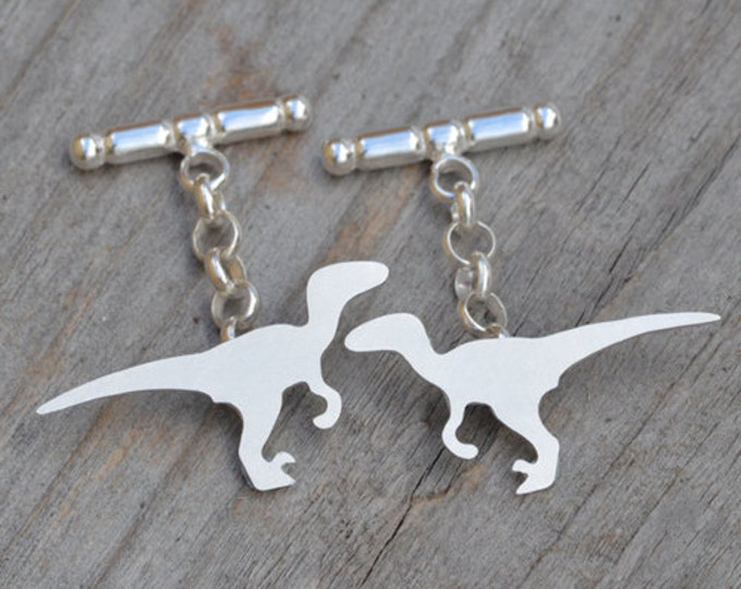 Velociraptor Cufflinks in Sterling Silver, Personalized Dinosaur Cufflinks