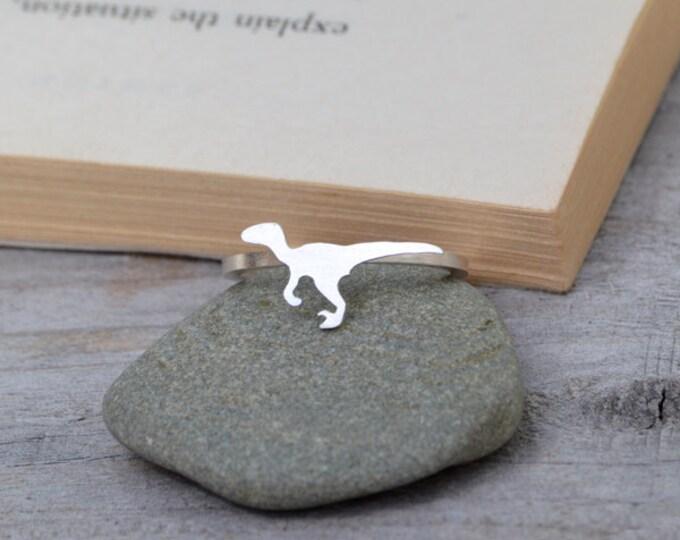Velociraptor Ring in Sterling Silver, Silver Dinosaur Ring