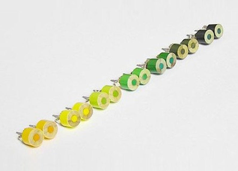 Colour Pencil Stud Earrings Yellow Pencil Ear Posts Green image 0