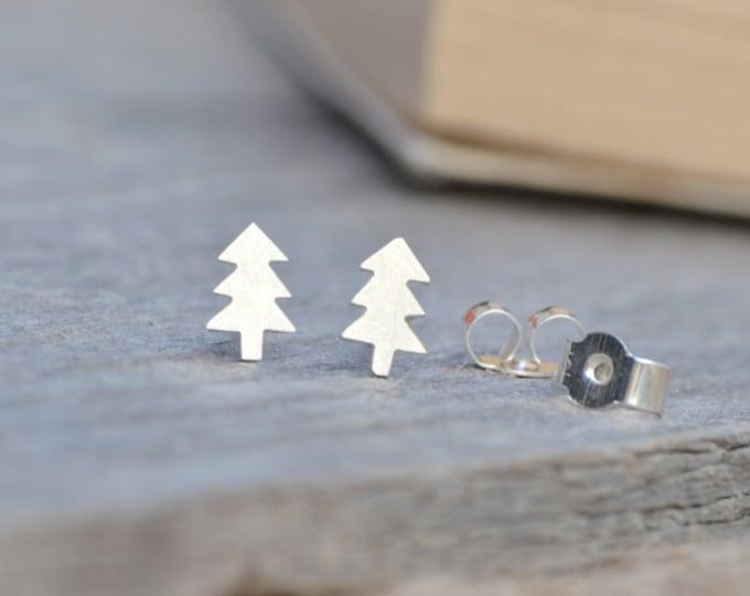 Christmas Tree Stud Earrings in Sterling Silver, Silver Xmas Tree Ear Post