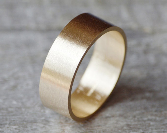 Flat Wedding Ring Wedding Band In 9ct Yellow Gold 8mm Wide Satin Finish, Men's Wedding Band