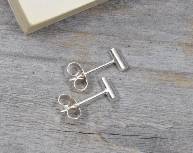 Small Stick Stud Earrings, Simple Bar Ear Posts in Silver
