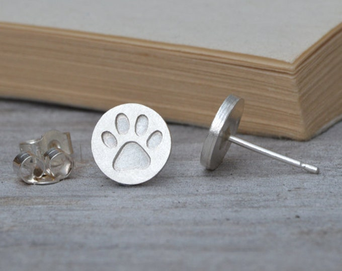 Pawprint Stud Earrings in Sterling Silver, Silver Pawprint Ear Posts
