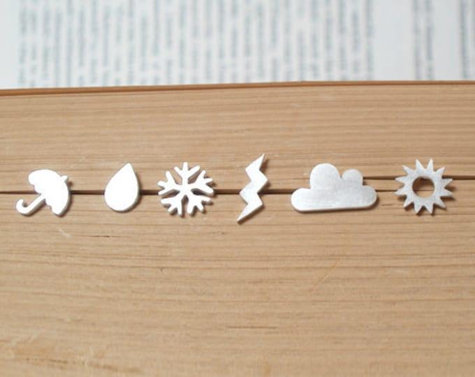 Weather Forecast Stud Earrings in Sterling Silver, British Weather Ear Posts, Set of 6 Stud Earrings