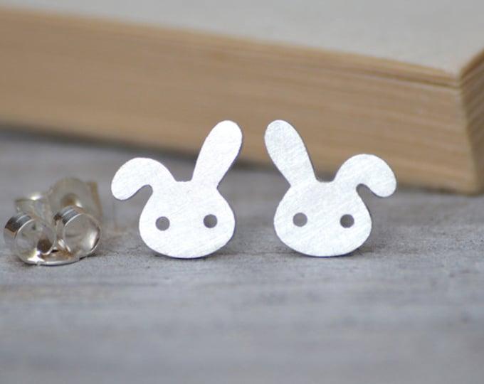 Bunny Stud Earrings with Floppy Ear, Rabbit Ear Posts, Silver Rabbit Earring