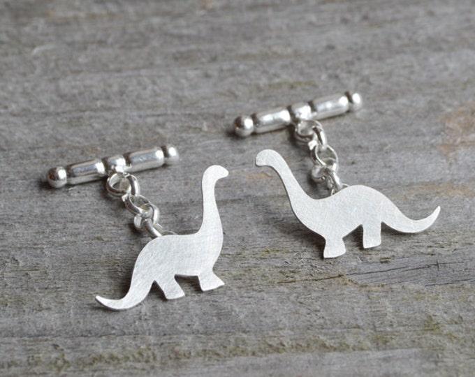 Dinosaur Cufflinks In Sterling Silver, Brontosaurus Cufflinks, Personalized Dinosaur Cufflinks