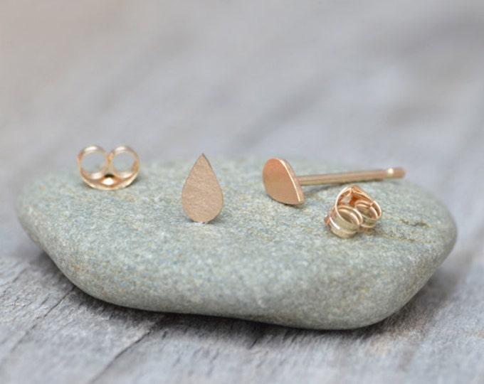 Raindrop Stud Earrings in 9ct Yellow Gold, Teardrop Ear Posts, Tiny Ear Posts