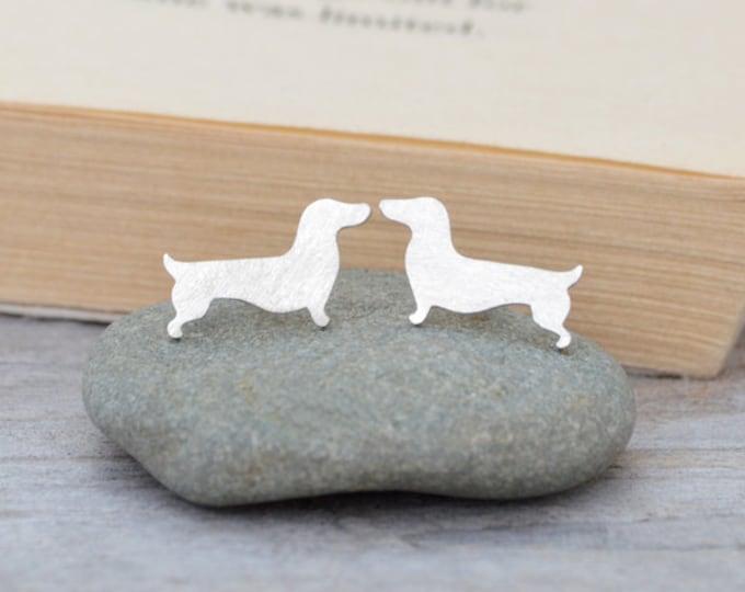 Dachshund Stud Earrings, Sausage Dog Ear Posts