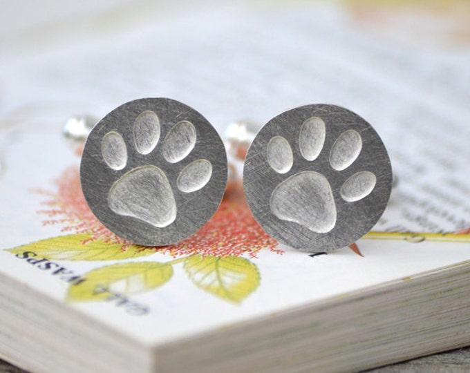 Pawprint Cufflinks in Sterling Silver, Personalized Pawprint Cufflinks