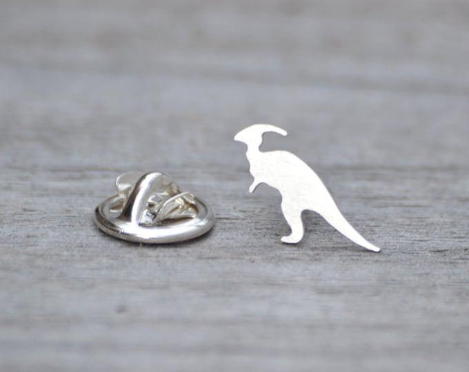 Parasaurolophus Dinosaur Lapel Pin in Sterling Silver, Silver Dinosaur Pin