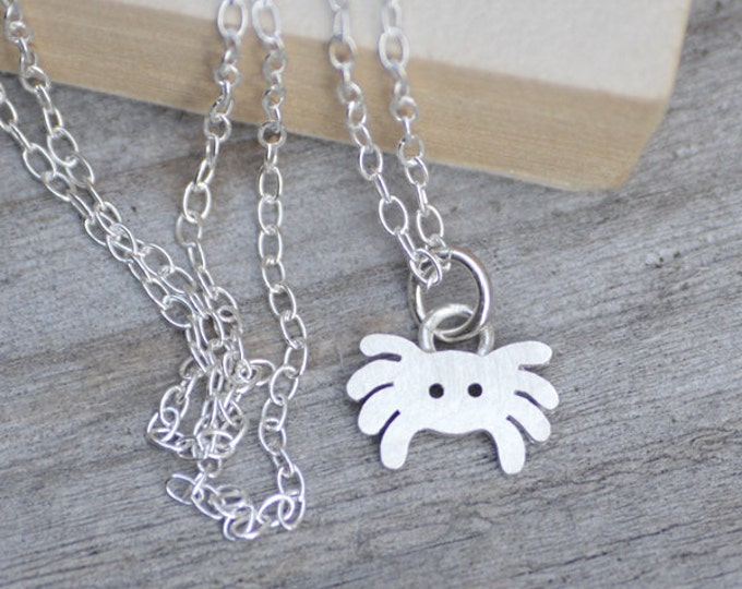 Spider Necklace in Sterling Silver, Silver Spider Necklace