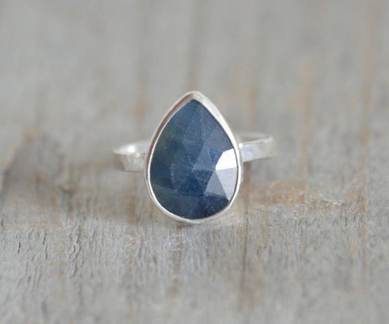 f64bb3712002b Rose Cut Sapphire Ring, 3.5ct Raindrop Sapphire Statement Ring, September  Birthstone Ring, Wedding Gift, Something Blue Gift
