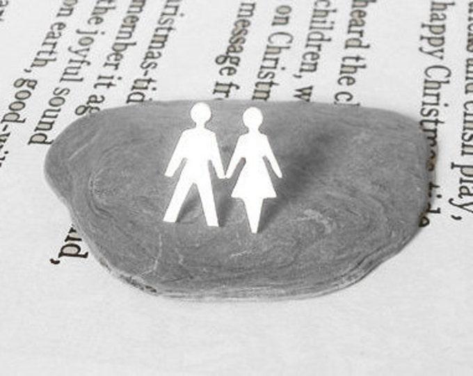 Boy and Girl Stud Earrings in Sterling Silver