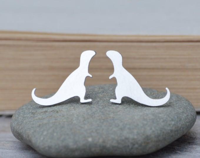 T-Rex Stud Earrings In Sterling Silver, Silver Dinosaur Ear Posts