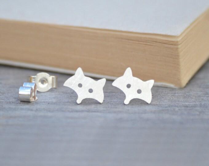 Fox Stud Earrings in Sterling Silver, Silver Fox Ear Studs