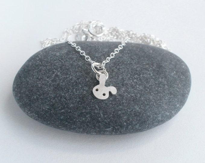 Rabbit Necklace, Floppy Ear Rabbit Necklace, Silver Bunny Necklace