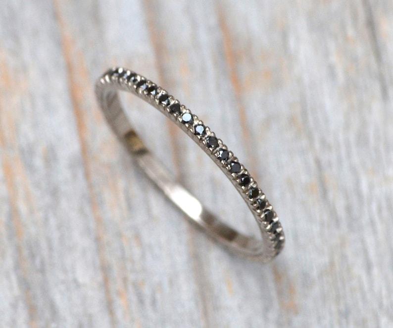Black Diamond Eternity Ring Pave Eternity Wedding Ring Black image 0