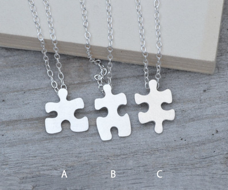 Jigsaw Puzzle Necklace in Silver Silver Puzzle Necklace image 0