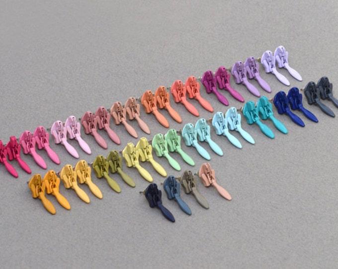 Zipper Stud Earrings, Zipper Ear Posts