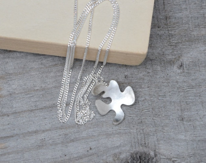 Petal Necklace in Sterling Silver, Silver Flower Necklace