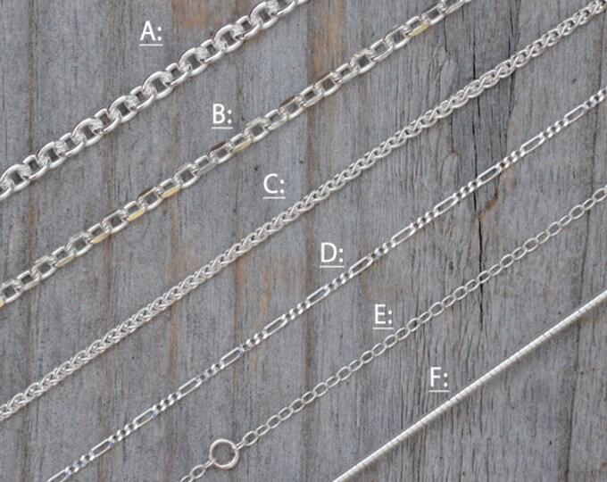 Solid Sterling Silver Chain, Omega Chain, Cable Chain,  Spiga Chain, Figaro Chain, Diamond Cut Belcher Chain, Special Trace Chain