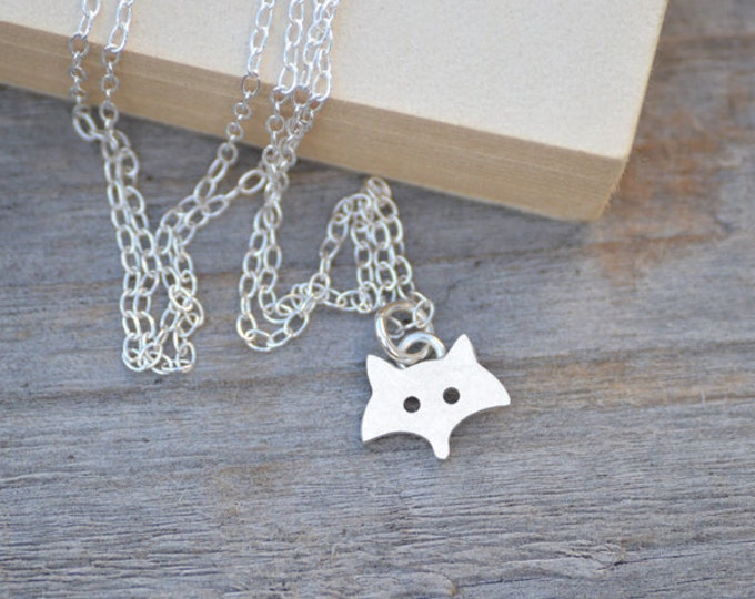 Fox Necklace in Sterling Silver, Silver Fox Necklace