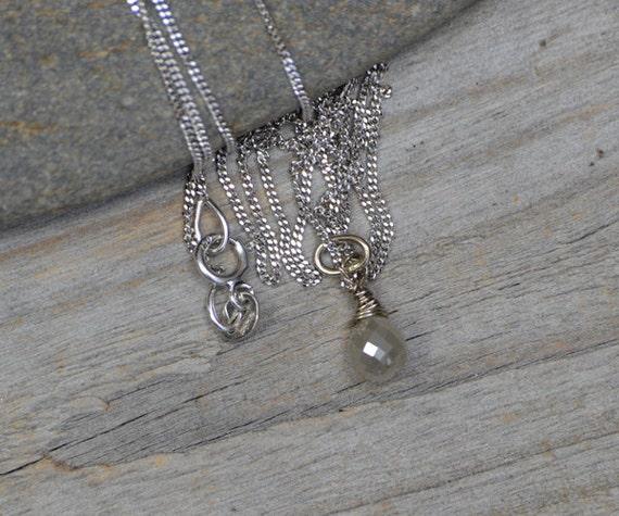 Raindrop Diamond Necklace with 18ct white gold April Birthstone Diamond Wedding Gift Handmade in the UK