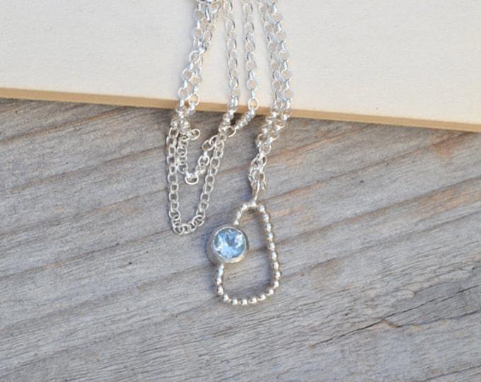 Baby Blue Topaz Necklace, Something Blue Wedding Gift, Unique Topaz Necklace, November Birthstone Necklace