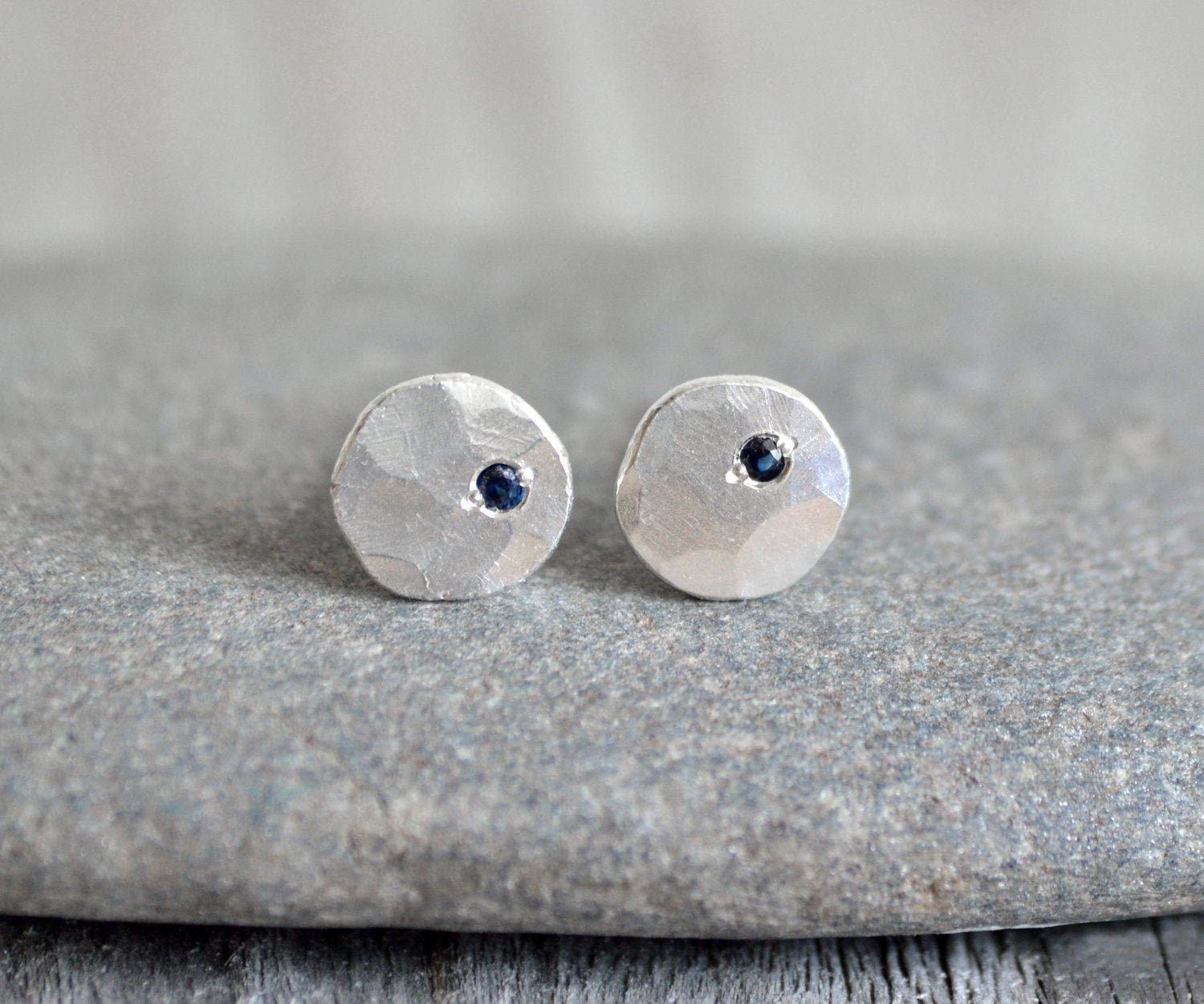 10f1dd951 Rustic Stud Earrings with Sapphires, Recycled Sterling Silver Earring ...