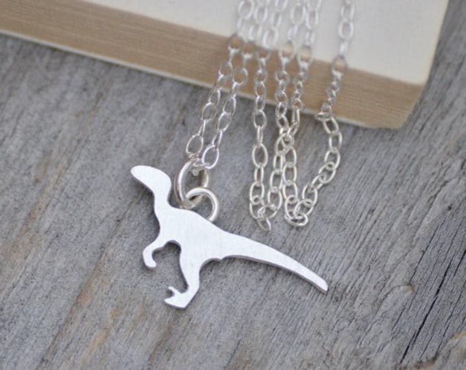 Velociraptor Necklace in Silver, Silver Dinosaur Necklace