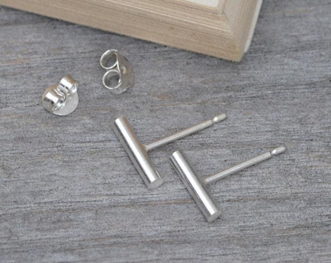 Simple Bar Earring Studs In Sterling Silver, Stick Earring Studs Handmade In England