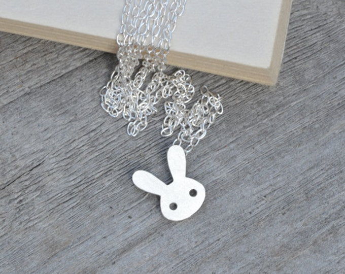 Rabbit Necklace in Sterling Silver, Silver Bunny Necklace