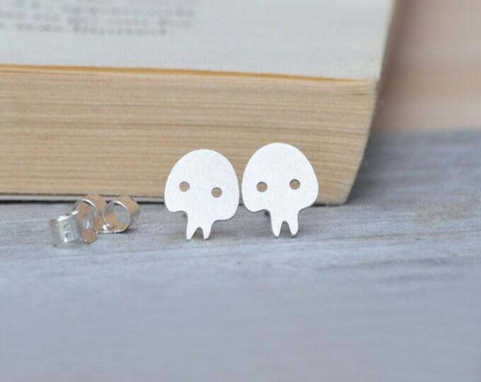 Skull Earring Studs In Sterling Silver, Handmade Skull From England