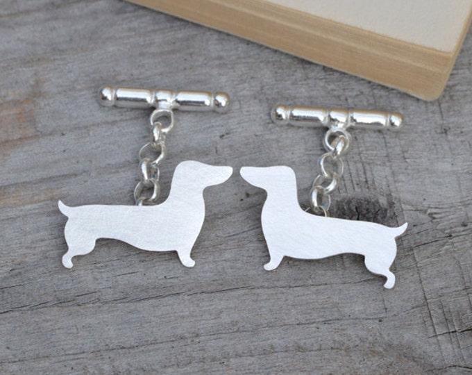 Dachshund Cufflinks in Sterling Silver, Silver Sausage Dog Cufflinks, Personalized Dachshund Cufflinks