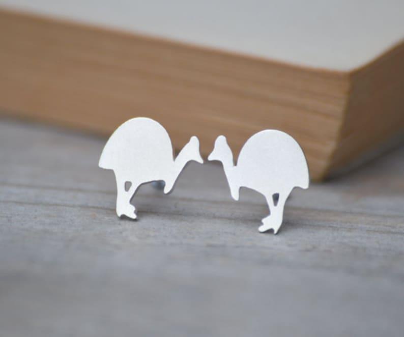 Southern Cassowary Stud Earrings in Sterling Silver image 0