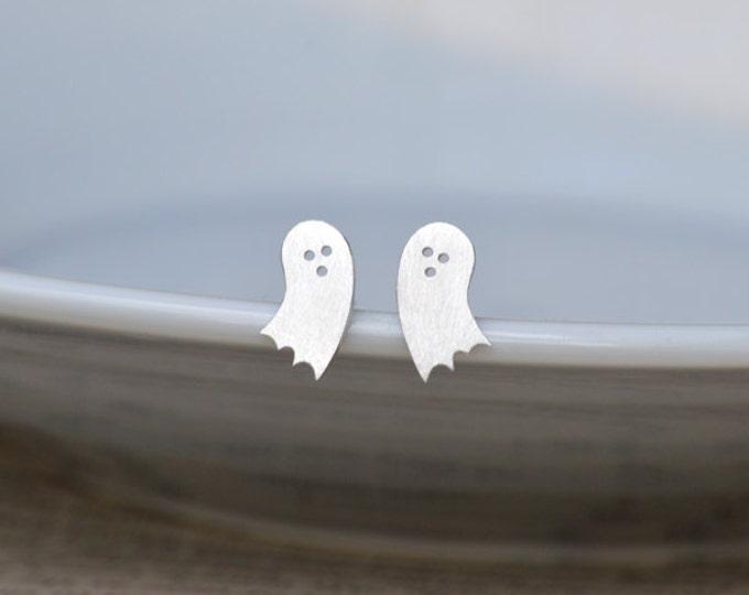 Little Ghost Stud Earrings in Sterling Silver, Halloween Stud Earrings