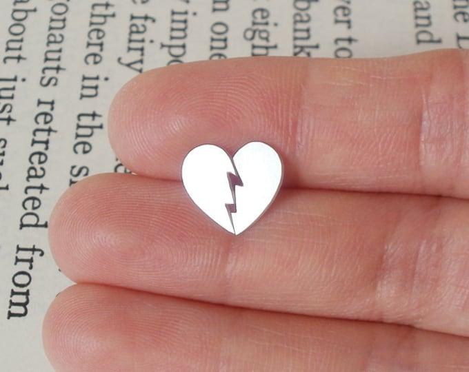 Broken Heart Stud Earrings in Sterling Silver, Heart Shape Ear Posts