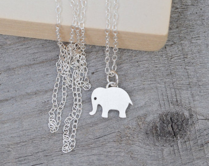 Elephant Necklace in Sterling Silver, Silver Animal Necklace