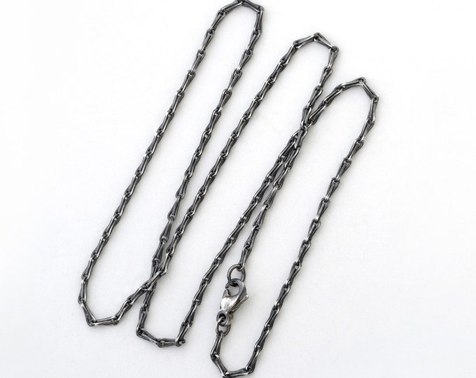 Silver Barleycorn Chain, Oxidised Barleycorn Chain,  Antique Style Silver Chain Necklace