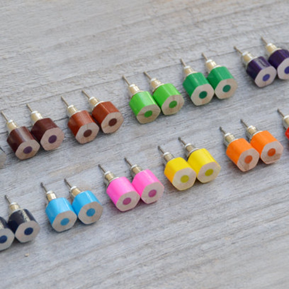 Color Pencil Stud Earrings the Hexagon Version in Candy image 0