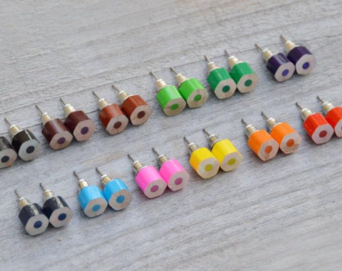 Colour Pencil Stud Earrings, Hexagon Pencil Ear Posts, Colourful Pencil Earrings