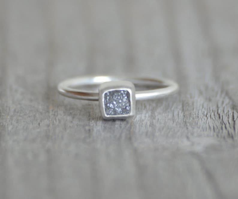 88d8aeeee Raw Diamond Cube Engagement Ring 1.1ct Raw Diamond Ring In | Etsy