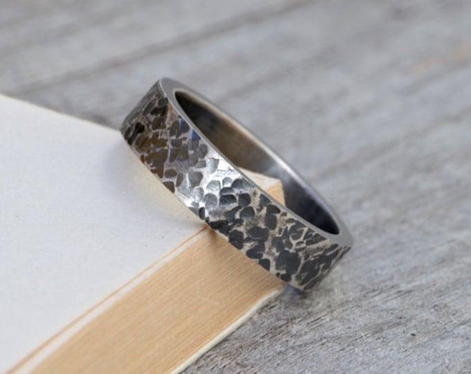 Textured Wedding Band, Oxidised Rustic Wedding Ring, 5.5mm Wedding Band, Unisex Wedding Ring