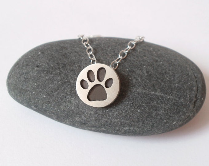 Pawprint Necklace in Oxidized Sterling Silver, Silver Paw Print Necklace