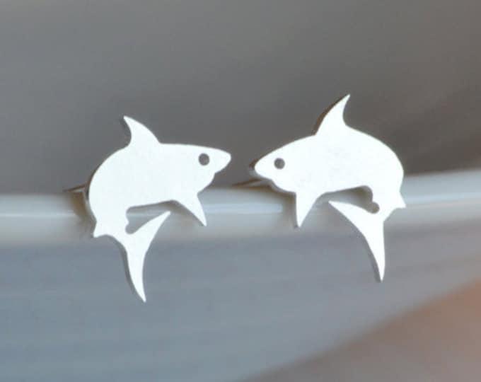 Shark Stud Earrings in Sterling Silver, Silver Shark Ear Posts, Animal Stud Earrings