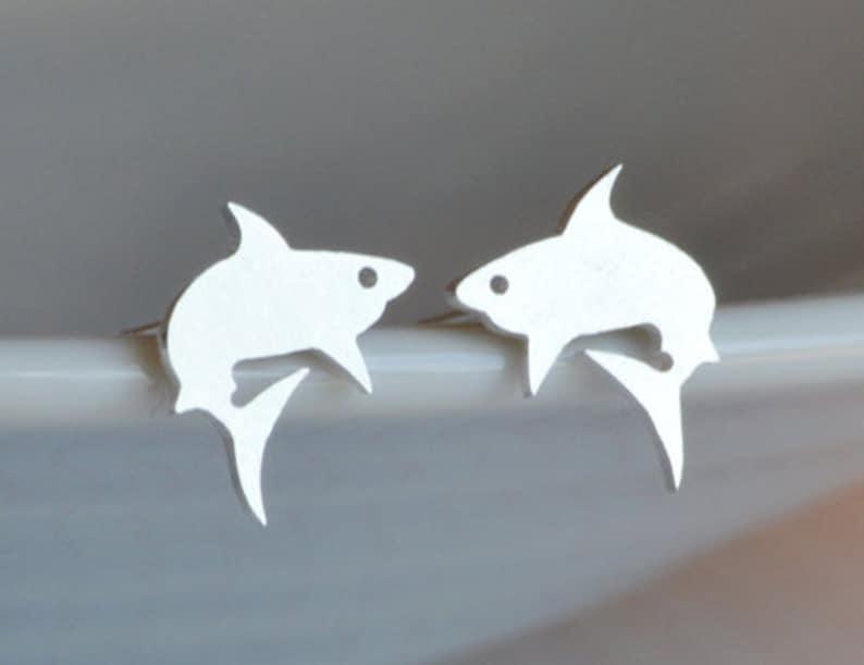 Shark Stud Earrings in Sterling Silver Silver Shark Ear image 0
