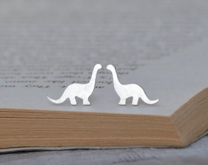 Dinosaur Stud Earrings in Sterling Silver, Brontosaurus Ear Posts