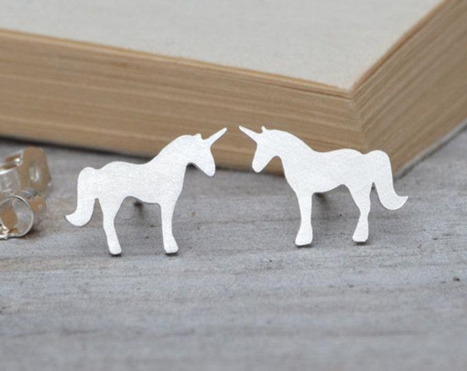 Unicorn Stud Earrings in Silver, Silver Unicorn Ear Studs