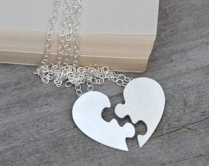 Interlocking Puzzle Heart Necklace, Silver Puzzle Heart Necklace, Personalized Heart Shape Necklace