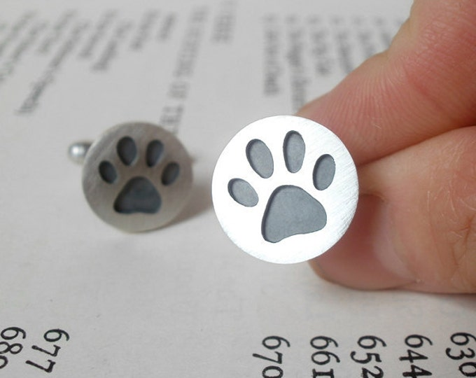 Paw Print Cufflinks in Sterling Silver, Personalized Pawprint Cufflinks